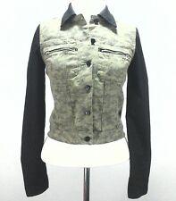 GUESS WOMEN'S jacket CAMO Green/Black MILITARY Army Moto Biker Button Up XS $138