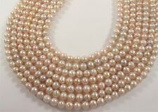 7 mm Natural Pink Potato Freshwater Pearl Beads, Genuine Cultured Pearls (#657)