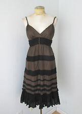 BCBG MAX AZRIA brown black tiered silk cotton crepe baby doll dress ruffled M