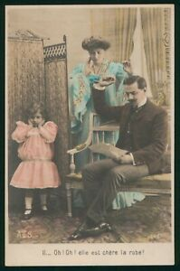 Mayfairstamps Art PC Couple and Girl Covering Ears Postcard wwo_56529