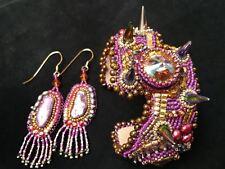 Fuchsia Maddness Beaded Spike Cuff Bracelet with Pierced Earrings