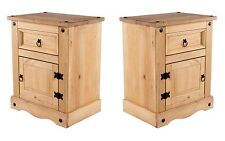 Quality Pair 1 Door 1 Drawer Bedside Cabinet Table Corona Mexican PIne Furniture