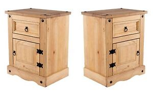 Corona Bedside Cabinets Pair 1 Door 1 Drawer Tables Solid Wood Mexican Pine