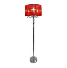 Modern Chrome Crystal Pole Floor Lamp Shade Tall Mid Century Vintage Chandelier