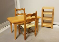 Miniature Dollhouse Kitchen Dining Table Set Chairs Shelf Wood Furniture