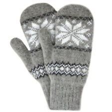 Women's Wool Mittens in Light Gray with White Snowflake Pattern (size 7)
