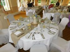 10Ft Hessian And Lace Table Runner With Tassels. Ideal For Parties & Weddings