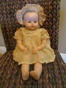 """Ideal Composition Doll Baby Sleepy Eyes Cloth Composite Antique 18"""" Cry Box USA"""