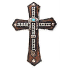 Western Style Wall Cross Buckle Turquoise Floral Texture Big Head Nails Resin