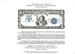1977 Atlanta ANA BEP B41 Souvenir Card 1899 $5 Onepapa Silver Certificate Front
