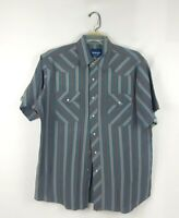 Wrangler Western Pearl Snap Shirt Button Up Mens Size Large Short Sleeve