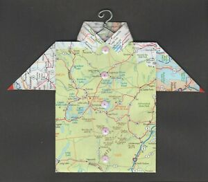 Origami Map Shirt New York, Lake Placid, Elizabethtown, Saranac, Harrietstown