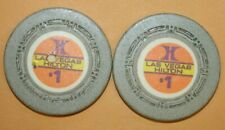New listing 2 Vintage Las Vegas Hilton $1 Dollar Chip Small H