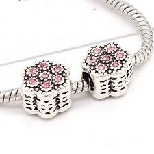 Fiore Rosa Color Argento Charm Bead Fit Bracciale GW95