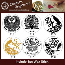 Custom Made Personalized INITIALS & DATE Peacock Bird Wax Seal Stamp+1 Wax Stick