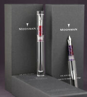 Moonman C1 Transparent Eyedropper Fountain Pen Converter F/M/Bent Nib Ink Pen