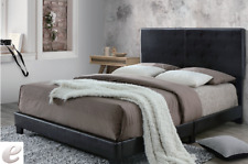 TWIN SIZE, WOOD, FAUX LEATHER BEDROOM BED FRAME HEADBOARD WITH WOODEN SLAT