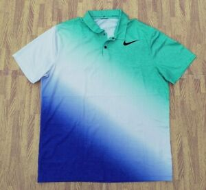 Tiger Woods Collection Nike Dri-Fit Green White Blue Golf Polo Shirt Men's Large