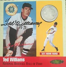 TED WILLIAMS AUTOGRAPHED COIN CARD/GREEN DIAMOND