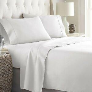 Organic Cotton Queen Size Home 4 PCs Sheet Set 1000 TC White Solid