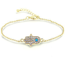 Hand of Fatima Bracelet protection from evil eye lucky bracelet gold hamsa charm