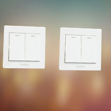 PC Plastic Home Wall Light Push Button Switch White Panel 250V 10A 2Gang #xx