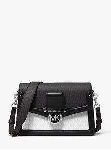 NWT 100% Authentic Michael Kors Jessie Medium Two-Tone Logo Shoulder Bag