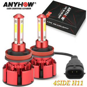 4 Sides H11 LED Headlight High or Low Beam Bulbs 2500W 375000LM 6000K White 2Pcs