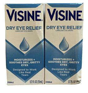 Lot of 2  Visine Dry Eye Relief Lubricant Eye Drops 0.50 oz ea Exp 12/22 NEW