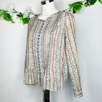 Anthropologie Maeve Floral Pleated Buttons Long Sleeve Blouse Women's Size Small