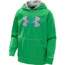 NWT Under Armour Boys  Fleece Storm Big Logo Hoodie Astro Green YSM Youth Small