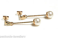 9ct Gold 5mm Pearl Long Drop earrings Made in UK Gift Boxed