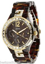 NEW GUESS RESIN TORTOISE+GOLD TONE,CRYSTAL G LOGO+CHRONO WATCH U0078L1
