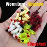 New 50Pcs Soft Earthworm Fishing Bait Worm Lures Crankbaits Hooks Tackle Baits