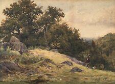 E Davies 1880 Signed Victorian Original Watercolour Painting Landscape Man & Dog