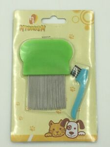 2pc Metal & Plastic Nit Comb With Brush Fine Tooth Detection Remove Lice Eggs