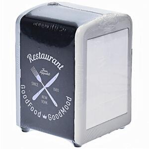 Serviettenspender Servietten Box Serviettenhalter Retro schwarz Gastro Metall