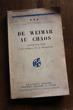 d'un Gal de la REICHSWEHR : de WEIMAR au chaos - sd WW2 39 45
