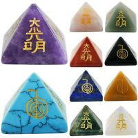 Healing Crystal Orgone Chakra Pyramid Engraved Metaphysical Stone Figurine Reiki