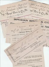 LOT - 5 Antique Advertising Billheads BRIGGS Bros Seed Company Rochester NY 1891