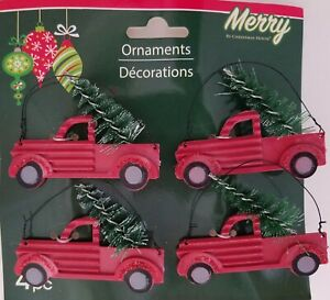 Christmas Ornaments Red Pick-Up Trucks Carrying Trees w Hanging Loops 4 Ct/Pk