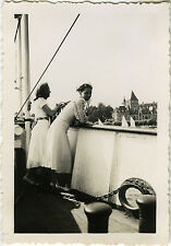 Vintage old photo-snapshot-cruise ship wife mode-boat cruising