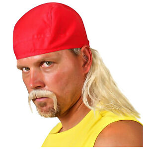 Men's Wrestler Hulk Hogan WWF WWE Costume Accessory Kit Wig Bandana Mustache