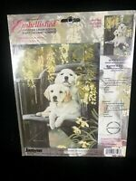 2004 JANLYNN EMBELLISHED COUNTED CROSS STITCH KIT PAIR GOLDEN RETRIVER PUPPY DOG