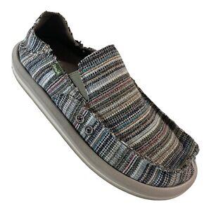 Sanuk Mens Vagabond Loafers Shoes Sidewalk Surfer Cabo Stripe Hemp Cotton 8 New