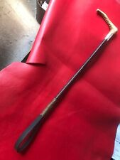 Antique Vintage Hunting Crop Leather covered Shaft, Silver Collar Horn Handle.