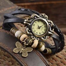 NERA in pelle intrecciata Donne Ragazze Farfalla Retro Braccialetto Watch & FREE BATTERIA