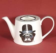 Kaffeekanne Teekanne  Jameson&Tailor Brillant Porzellan Hund mit Zylinder