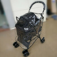 Folding Pet Carrier Cat Dog Pram Wheels Clear Travel Cage Mesh Cover
