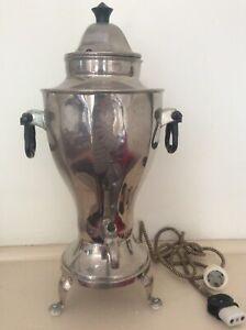 Vintage Hot Water Electric Silverplate Water Coffee Tea Heating Urn Samovar 1900